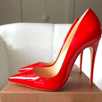 GENSHUO Women Pumps Red Lacquer Patent Leather High Heels Shoes for Wedding Party Sexy Stiletto Heels Pointed Toe 10 12cm new fashion patent leather high heel shoes woman sexy pointed toe stiletto heels gold metallic decoration dress heels