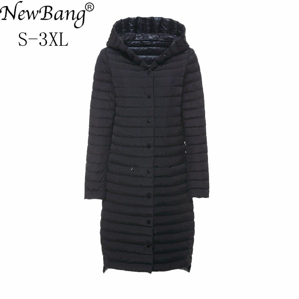 NewBang Brand Womens   Down   Jacket Long Puffer   Coat   Ultra Light   Down   Jacket Women Hooded Single Breasted Windbreaker   Coats
