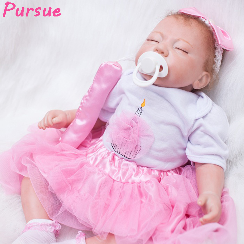 """Pursue 20""""/51 cm Silicone Reborn Baby Doll Eyes Close Sleeping Accompany Cute Princess With Pacfier Girls Child Early Education"""