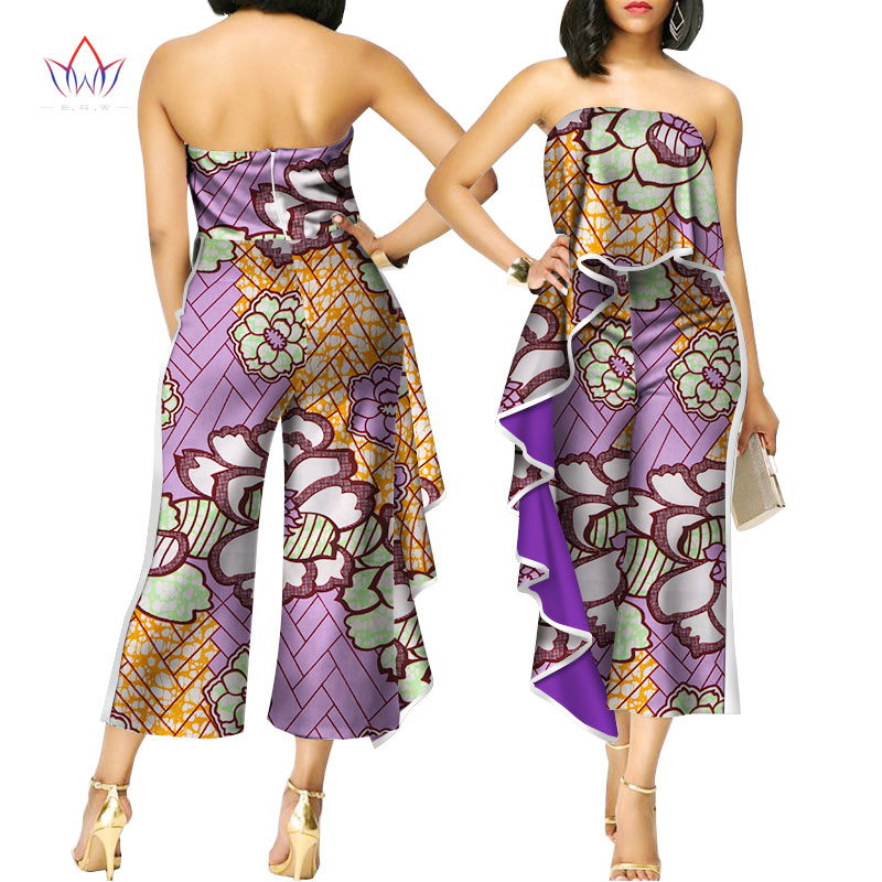 beautiful and cheap summer african women jumpersuit with print women african clothing sleeveless dashiki pant plus size WY2407
