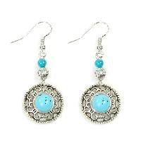 Free Shipping Tibet Jewelry Turquoise Rock Silver Handmade Earrings --Promtion
