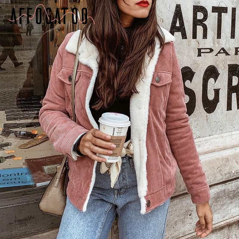 Affogatoo Casual Corduroy autumn winter jacket coat women Vintage Long sleeve pink jackets female Warm   parka   ladies outwear coat