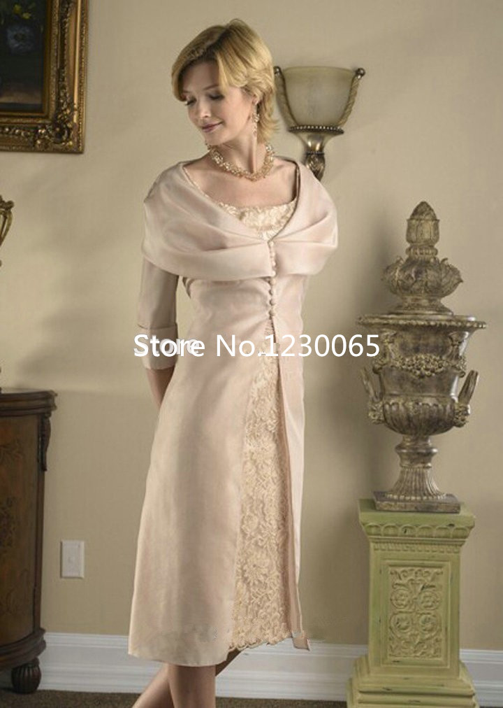 2016 Mother Of Bride Dresses With Jacket Sheath Half Sleeves Appliques Tea Length Lace Prom Evening Gown Robe De Soiree