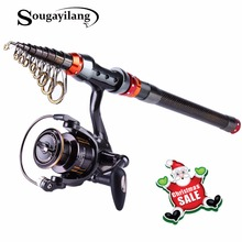 Sougayilang 1.8-3.0M Telescopic Fishing Rod and 13+1BB Spinning Fishing Reel Rock Boat Saltwater Fishing Rod and Reel Combo Set