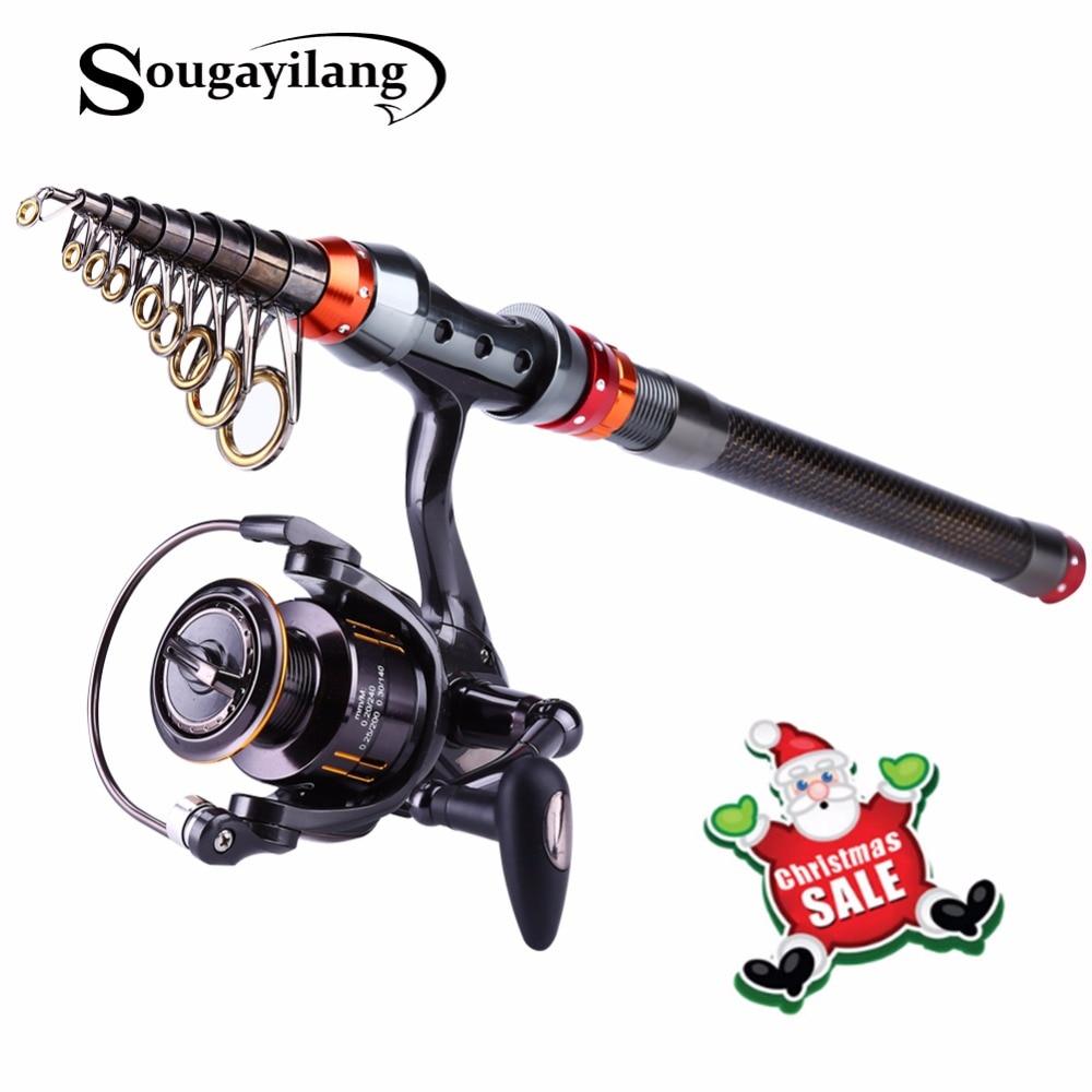 Sougayilang 1.8-3.0M Telescopic Fishing Rod and 13+1BB Spinning Fishing Reel Rock Boat Saltwater Fishing Rod and Reel Combo Set