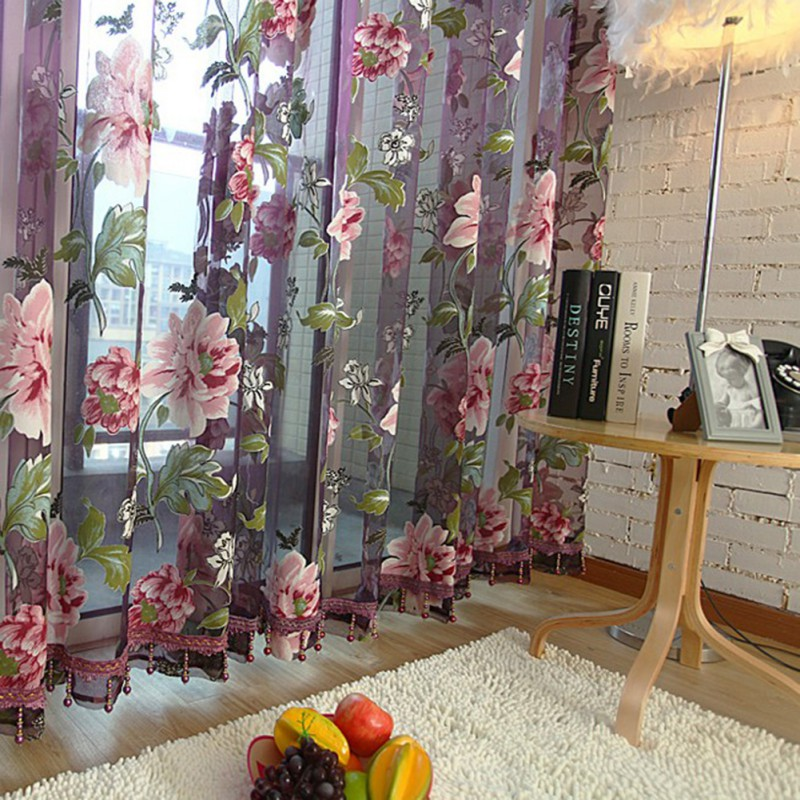 Newest Flower Embroidered Luxury 3D Voile Curtains Fabric Tulle Sheer For Kitchen Bedroom Living Room