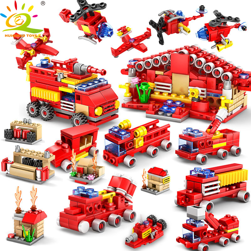 414pcs 16in1 Fire Station Building Blocks Educational Toys For Children Compatible Legoed City Firefighter Construction Bricks