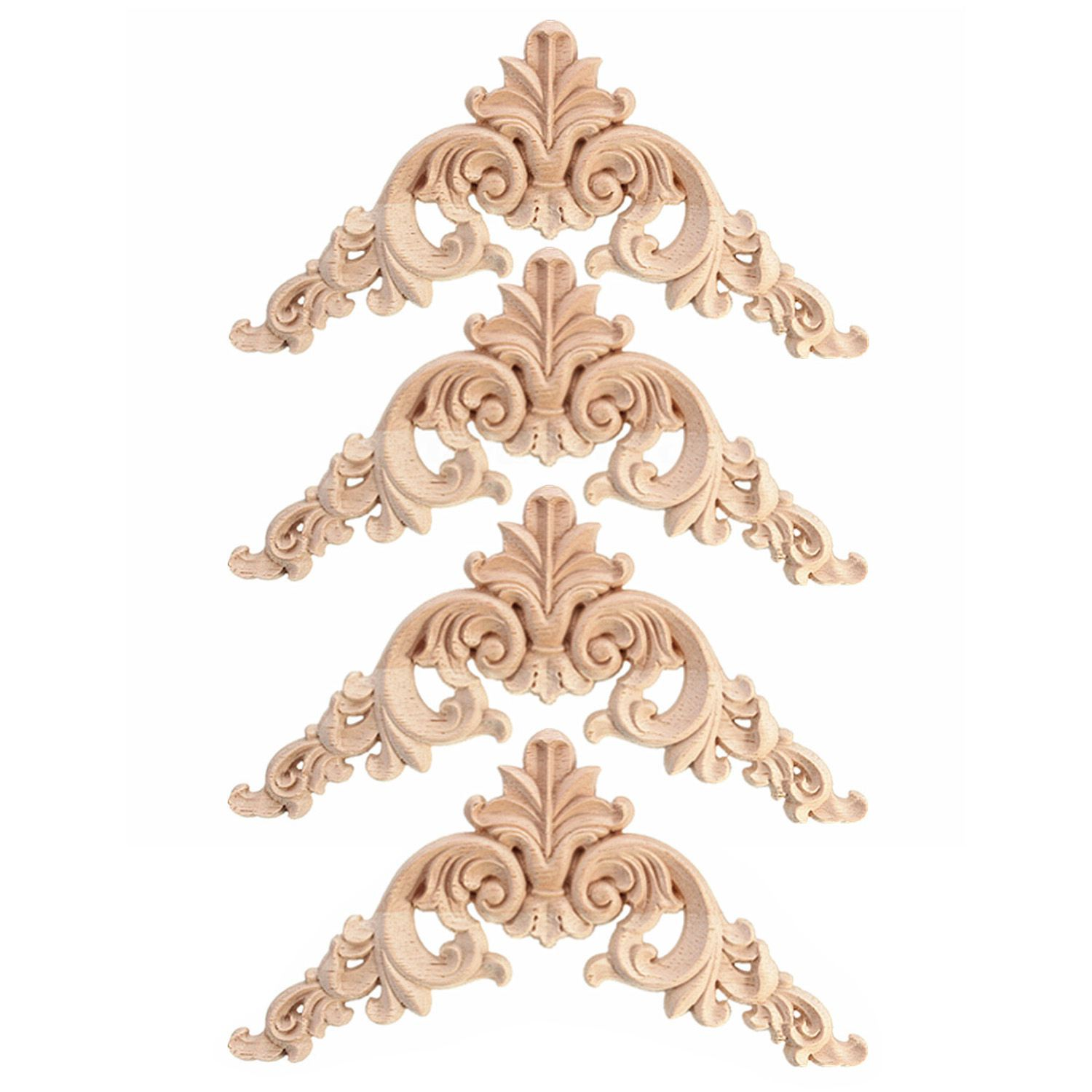 HOT SALE 4pcs Rubber Wood Oak Carved Corner Onlay Applique Furniture Home Door Decor DIY