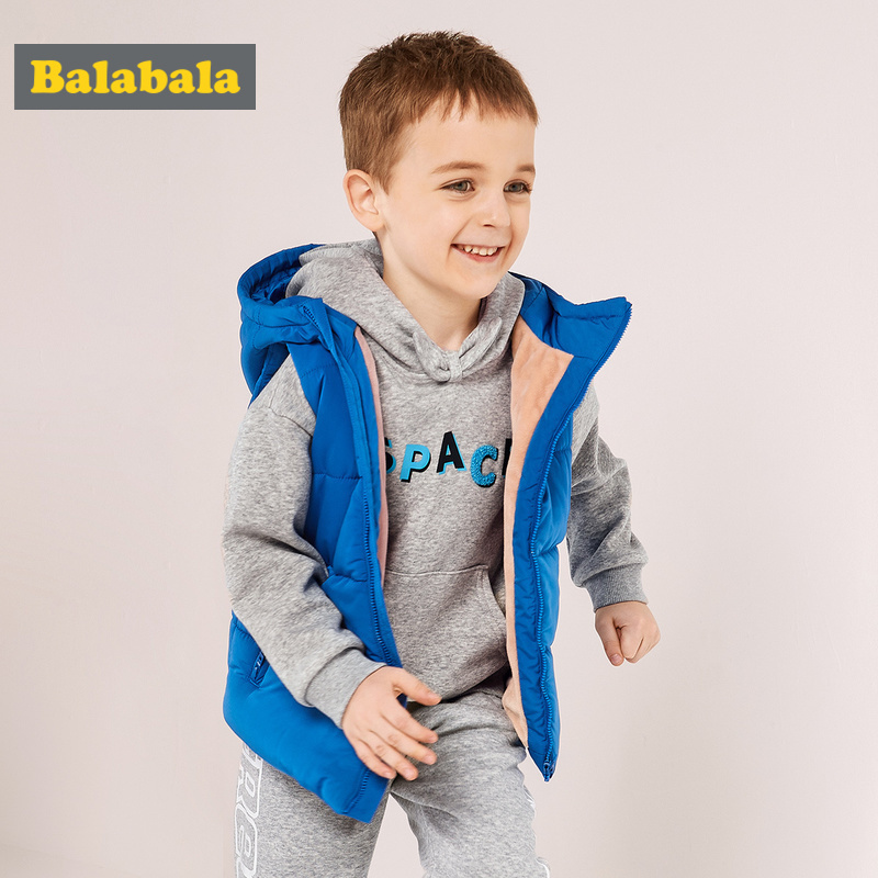 Balabala Toddler Boy Fleece Lined Hooded Puffer Vest with Small Stand up Collar Children Kid Zip up Puffer Vest with Zip Pocket