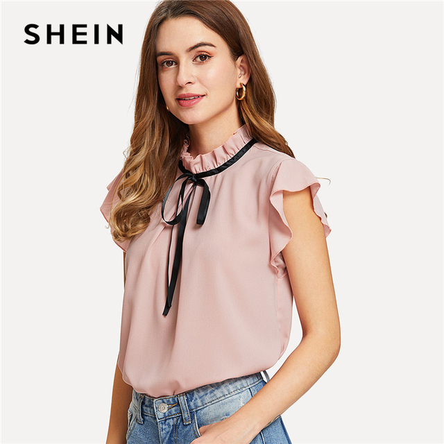 dc6093c18f82c8 SHEIN Bow Tied Frilled Neck Button Back Blouse 2018 Summer Stand Collar Cap  Sleeve Ruffle Youthful Shirt Girl Preppy Blouse