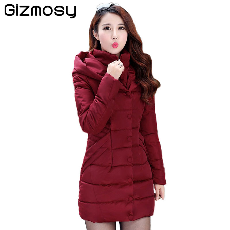 2017 Winter Coat Women Long Cotton Padded Parka Hooded Jacket Fake Two pieces Middle-aged Female Winter Slim Outwear SY918 2017 middle aged winter jacket women thicken warm cotton padded slim plus size 6xl winter coat women parka high quality