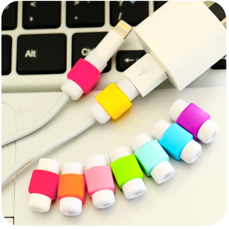 10pcs/lot Cute Cable earphones Protector For iPhone Sansung HTC USB Colorful Data Charger Earphone Cable Cover protetor de cabo 4pcs usb data cable line protector phone case anti breaking protective sleeve for charging cable for iphone for earphone line