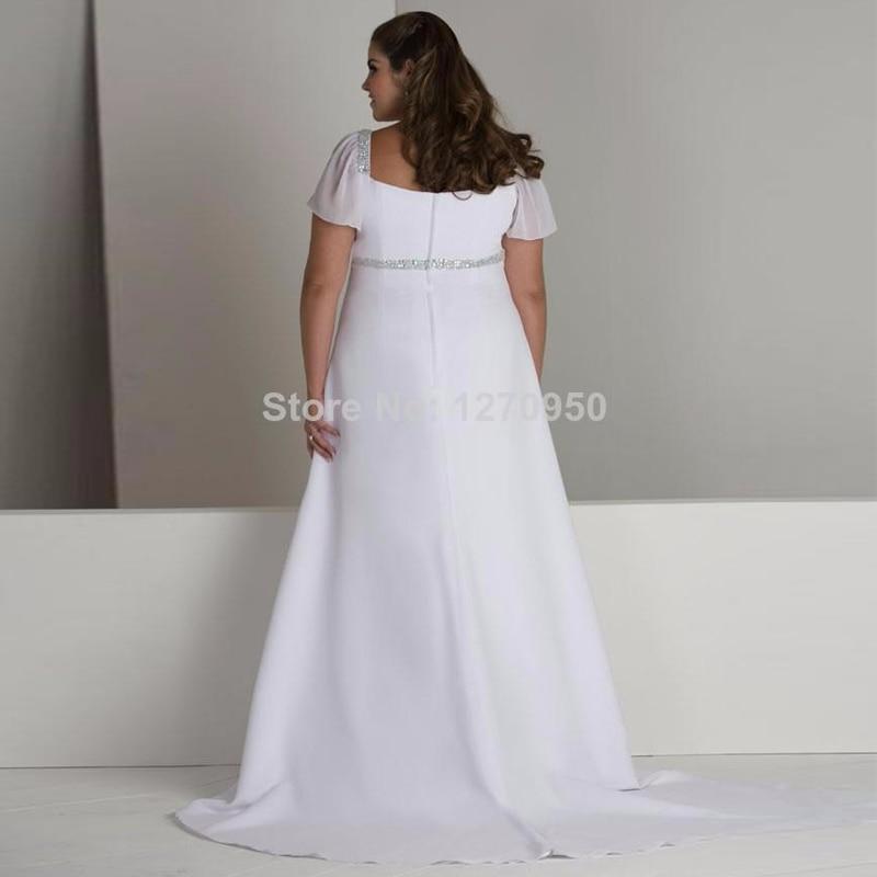 Heißer Verkauf Kappe Sleeves Empire Taille Chiffon Lange Plus Size ...