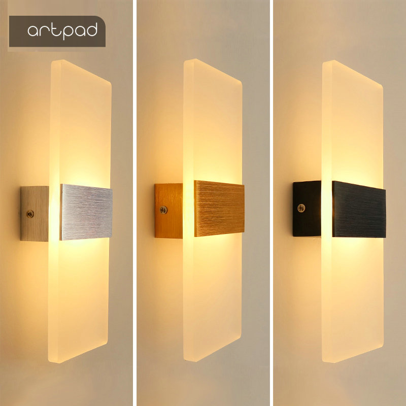 Artpad 6W/10W Minimalist LED Acrylic Wall Light Up Down Interior Ligting Fxiture Hotel Corridor Staircase Bed Side Wall Lamp