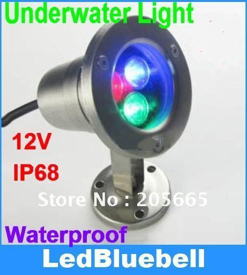 3W Underwater RGB LED Flood Light 3X1W Swimming Pool Lamp Waterproof 12V