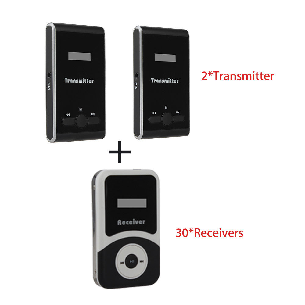 ATG100 2 Transmitters w/30 Receivers Wireless Remote Speaker Microphone Kit 195-230MHz 80m Teach Mic Wireless Tour Guide System anders portable wireless tour guide system for tour guiding simultaneous meeting church f4506a