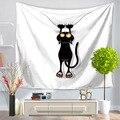 Домашний декоративный настенный гобелен  130x150 см  прямоугольное покрывало  милый черный кот  мультяшный узор GT1015