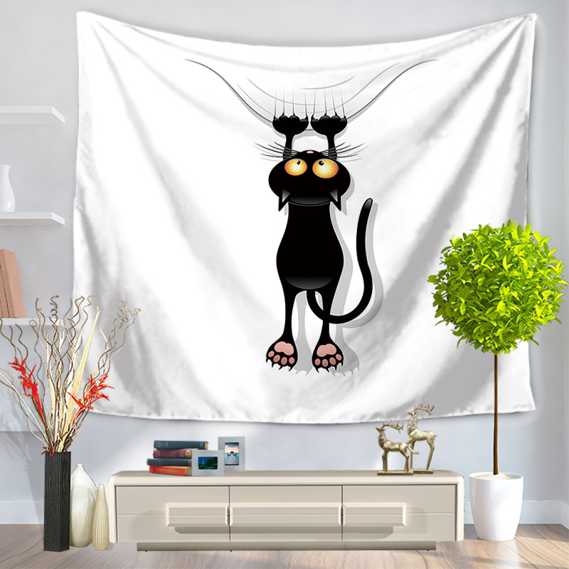 Home Decorative Wall Hanging Carpet Tapestry 130x150cm Rectangle Bedspread Cute Black Cat Cartoon Pattern GT1015|wall carpets hanging|hanging wall tapestries|tapestry hanging - title=