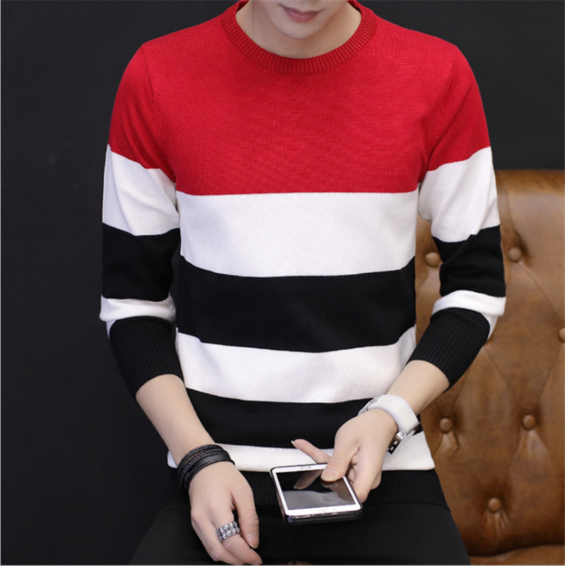 Mens Sweater Fashion Brand Pullover Red Striped Slim Fit  Jumpers Knitred Sweaters Woolen Hombre Korean Style Casual Men Clothes