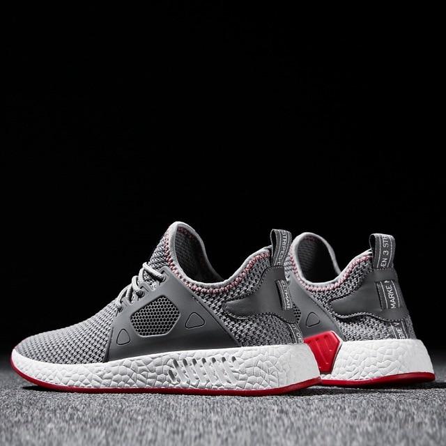 2018 Moda erkek ayakkabısı Rahat Dokuma Sinek Örgü Nefes Hafif Yumuşak Siyah Üzerinde Kayma Erkek Ayakkabı Erkek Eğitmenler Sneakers Insan Yarış