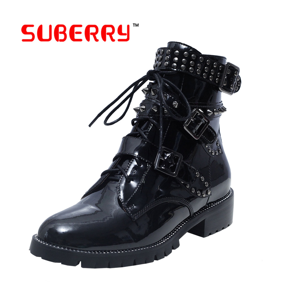 British Style Classic Women Boots 2016 new Genuine Leather Fashion Martin Shoes Lace Up Rivets Square