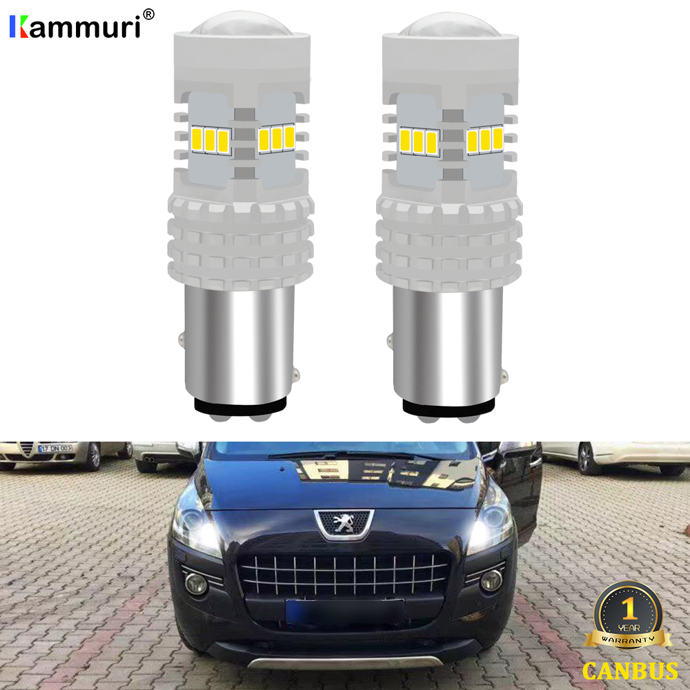 (2) White No error Canbus 1157 P21/5W BAY15D <font><b>LED</b></font> Bulb for <font><b>Peugeot</b></font> 308 408 <font><b>3008</b></font> CRZ 2010 2011 2012 <font><b>LED</b></font> DRL Daytime Running <font><b>Lights</b></font> image