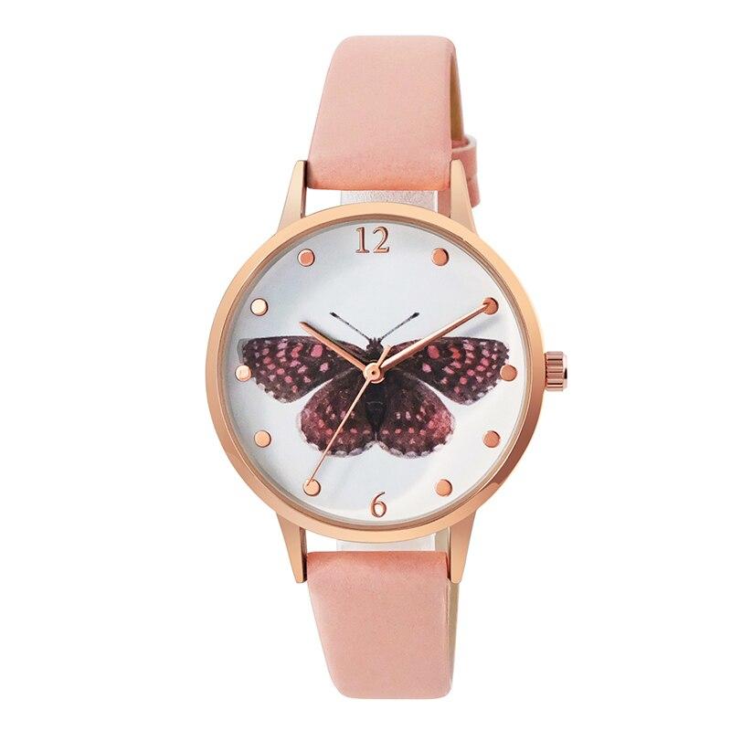 Luxury Leather Women Dress Watches Wristwatch Fashion Butterfly Ladies Bracelet Female Round Clock Quartz Watch 3D priting watch in Women 39 s Watches from Watches