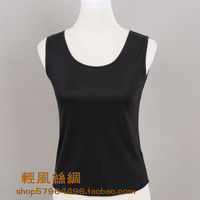 Women's silk vest mulberry silk solid color thickening double faced silk woven basic vest sleeveless vest