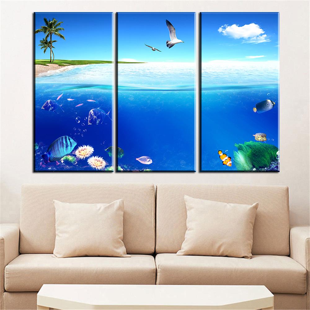 Kumsal duvar boyas rengi ile modern ve k ev dekorasyonu - Parca Modern Duvar Okyanus Kus Balik Deniz Manzarasi Boyama Resim Resim Tuval Ev Dekorasyonu Cercevesiz