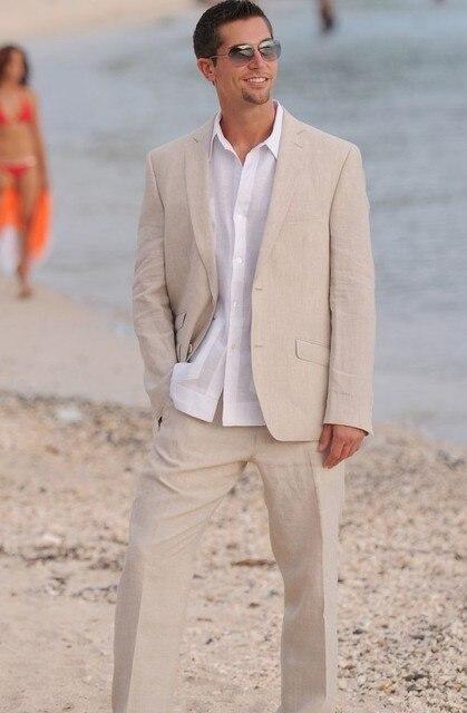 Latest Coat Pant Designs Beige Linen Casual Beach Custom Wedding Suits For Men Notched Lapel Slim