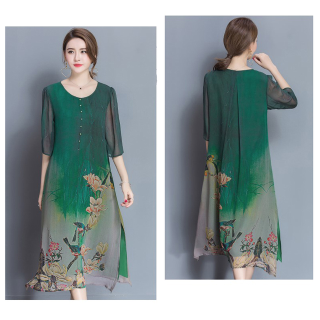 New Style Spring And Summer Quality Dress Female Plus Size Loose Print Full Dress Soft Material five Quarter Sleeve Dress M-4XL 2