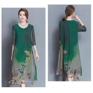Image 2 - نمط جديد الربيع و الصيف جودة فستان الإناث حجم كبير فضفاض طباعة فستان كامل مادة لينة خمسة أرباع كم فستان M 4XL