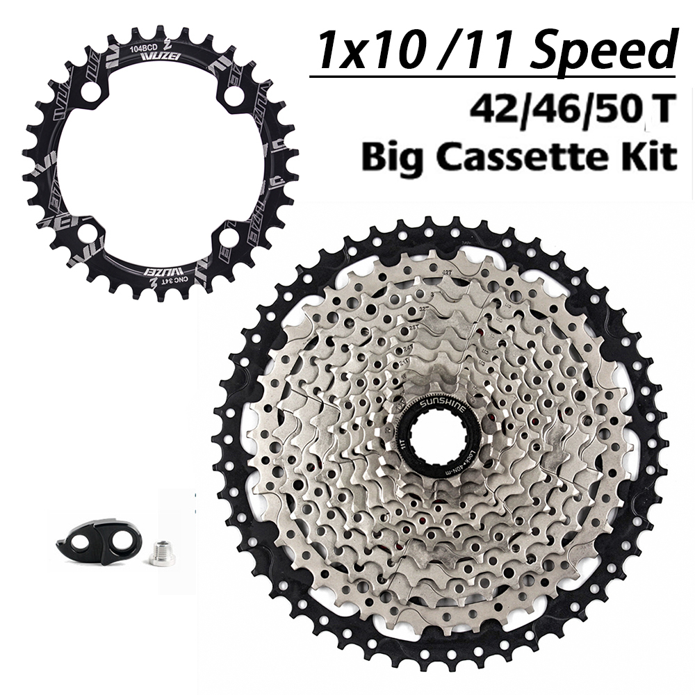 SUNSHINE Bicycle Chainring 32T / 34T / 36T / 38T + <font><b>Cassette</b></font> 42T / <font><b>46T</b></font> / 50T , 10 speed / <font><b>11</b></font> Speed Freewheel Big <font><b>Cassette</b></font> kit image