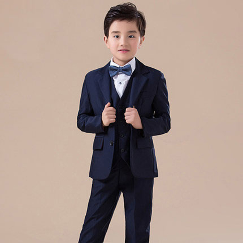 High quality 2017new arrival fashion baby boys kids blazers boy suit for weddings prom formal dark blue dress wedding boy suits 5pcs high quality 2016 baby boys kids blazers boy suit for weddings prom formal sequin dress wedding performance clothing suits