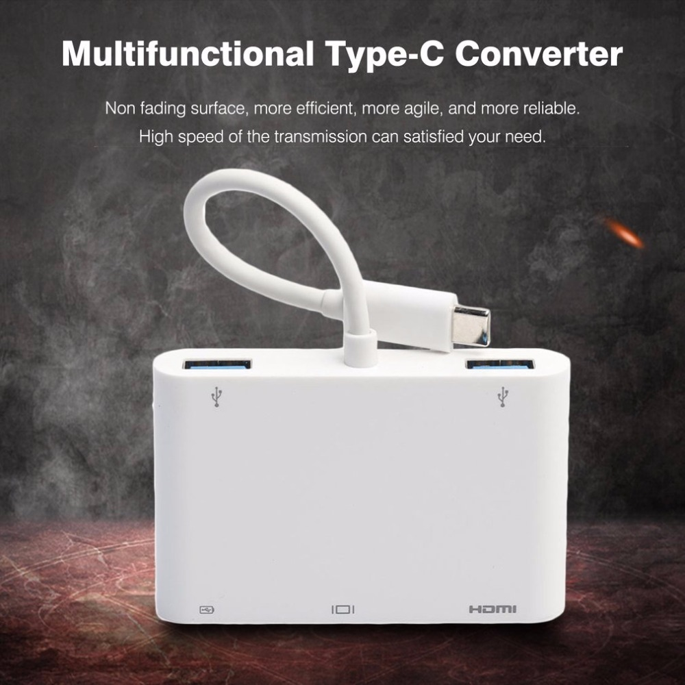Male Type-C to Female HDMI VGA USB 3.0 Converter Adapter For Computer Laptop Tablet HDTV Display Video Audio Transfer portable hdmi male to vga female video converter adapter usb power audio cable for playstation 3 for xbox 360 for hdtv pc