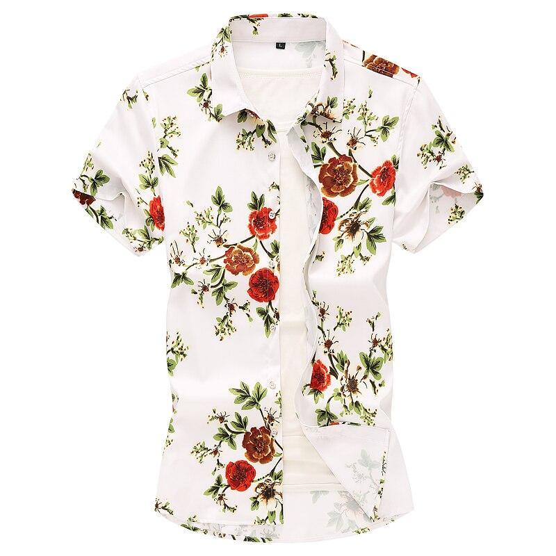 Рубашка с цветочным принтом для мужчин рубашки для мальчиков 2019 Летняя мода Chemise Homme для мужчин пляжные рубашки рубашка с короткими рукавами...