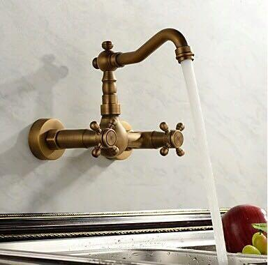 Bathroom basin kitchen sink mixer tap swivel Antique Bronze fashion style wall mounted faucet  AF1043 antique bronze wall mounted dual cross handles swivel kitchen bathroom sink basin faucet mixer tap anf257