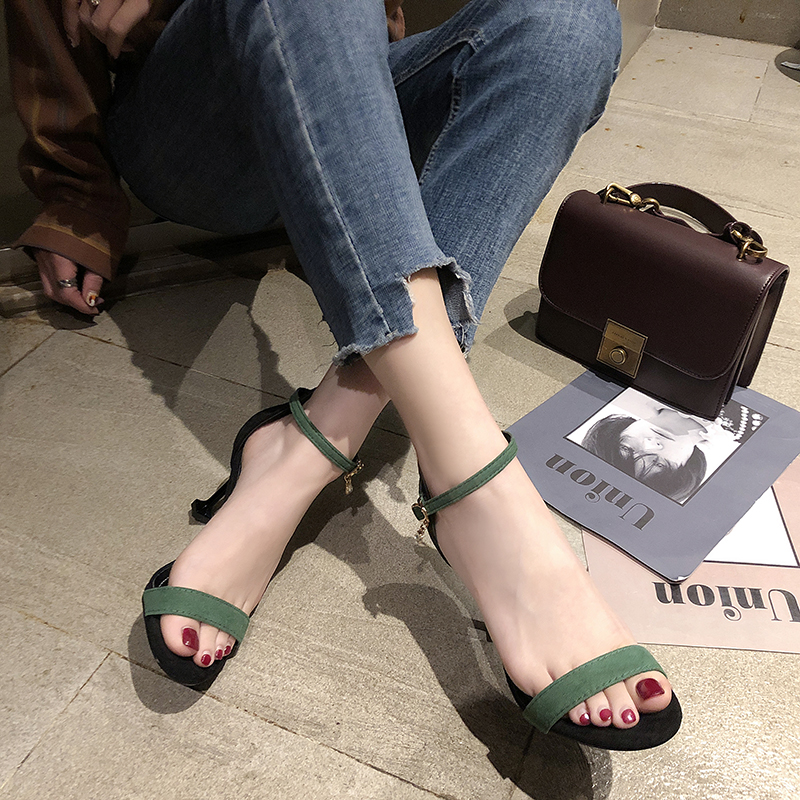 HKCP The new 2019 sandal toe word buckle with a fine black female fairies summer all match ferret high heeled shoes C001 in Middle Heels from Shoes