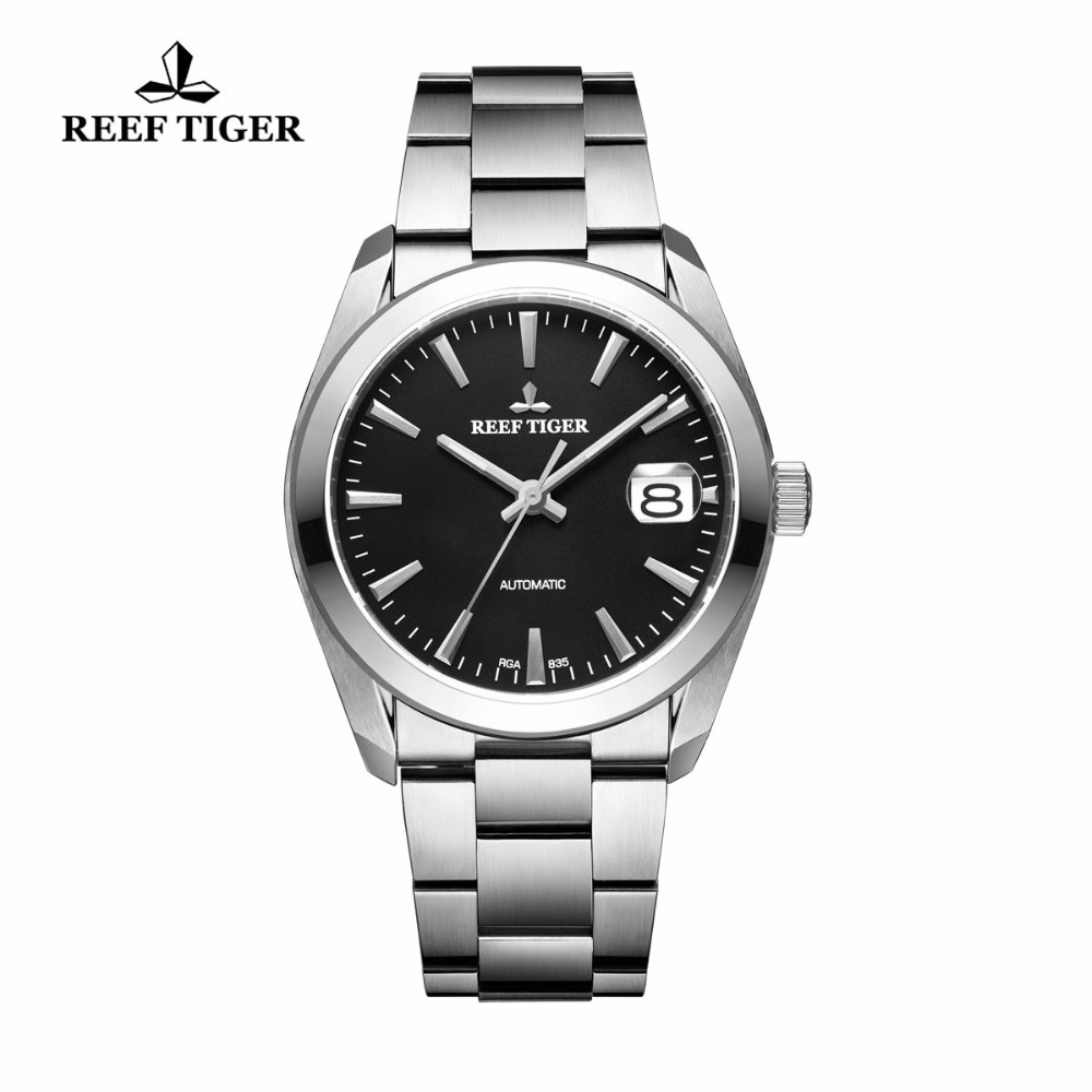 Reef Tiger Dress Mens Watches Analog Automatic Watches 316L Solid Stainless Steel Watch with Big Date RGA835 цена