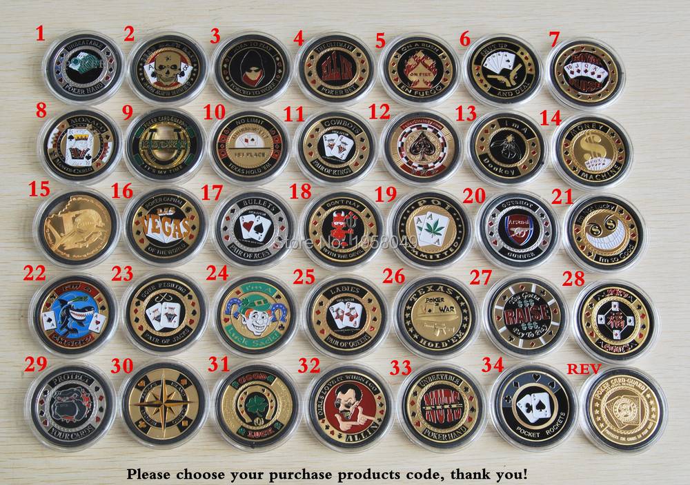 System randomly send 34 different Poker Card Guard Casino Coin 20pieces lot Free shipping