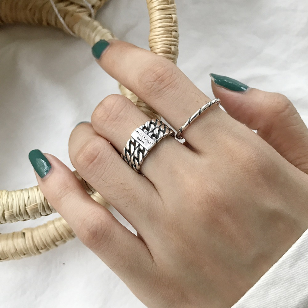 Retro Authentic S925 Sterling Silver Fine Jewelry Double Rows Chain /Twisted Roped Ring Retro Lady's Adjust J352