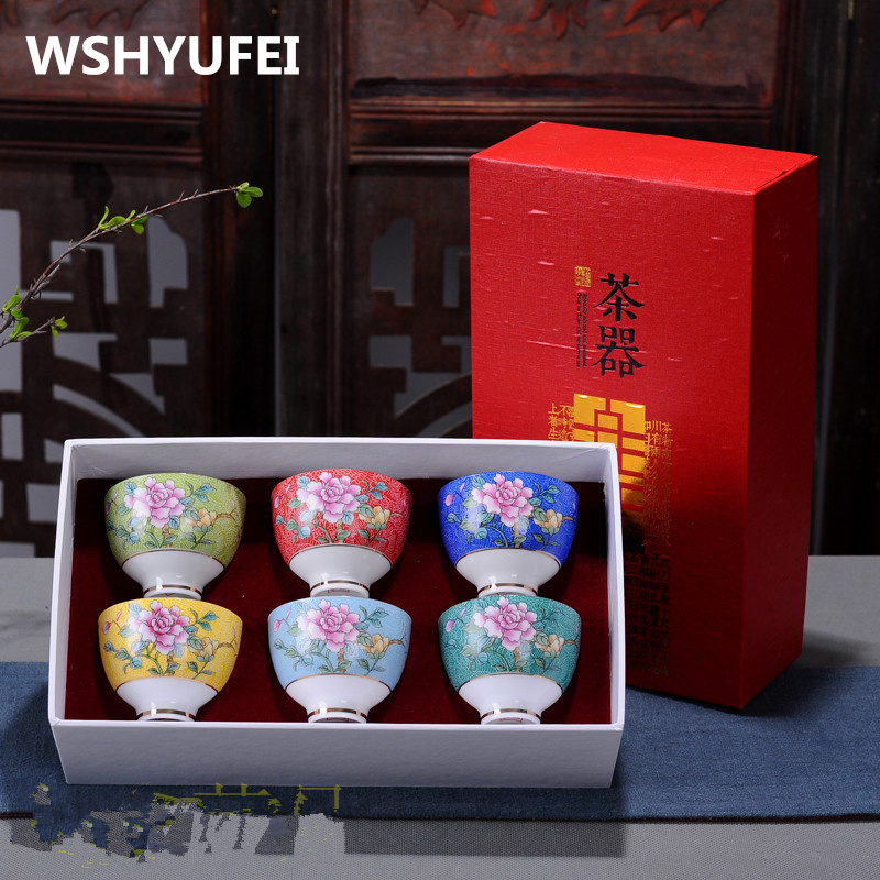 6 pieces sets of Chinese ceramic cups handmade painting Kung Fu cup small porcelain bowl tea