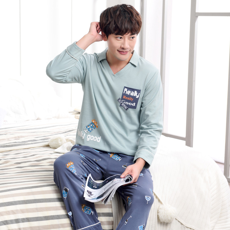 Men winter 2019 cotton new pajamas fashion turn down collar spring and autumn long sleeve trousers men pajama sets men sleepwear(China)
