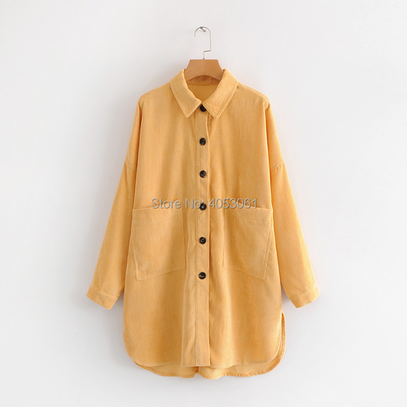 Corduroy Button Overshirt Front Shirt Side Women Vents Pockets As Sleeves amp; Pic Yellow Long With Feature 2018 up Ladies Blouse q8C5ECw