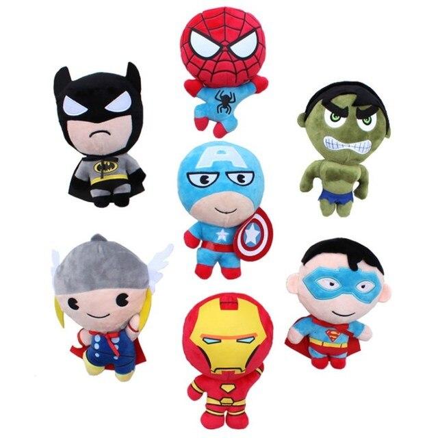 2018 Marvel Avengers brinquedos de pelúcia SpiderMan BatMan SuperMan Homem De Ferro Capitão América Thor Hulk Thonas suave Filme figuras de ação # E