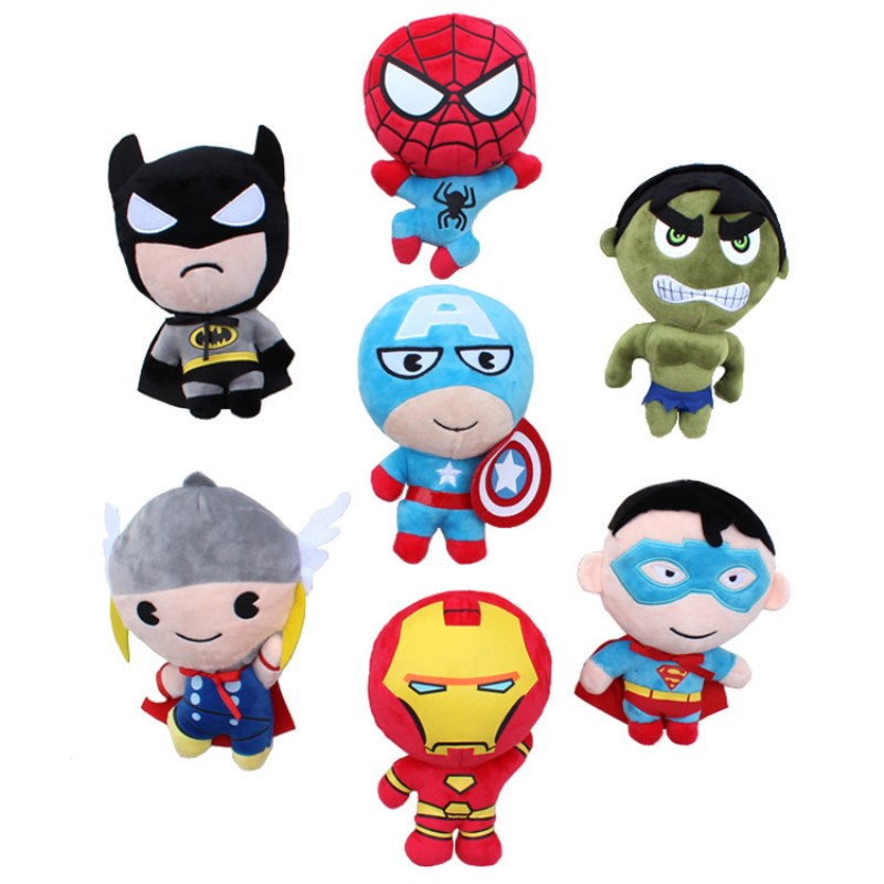 2018 Marvel Avengers plush toys Iron Man Captain America Hulk Thor SpiderMan BatMan SuperMan Thonas Film soft action figures #E 6pcs set the action figures batman spider man iron man hulk thor captain america action toy figures boys girls toy
