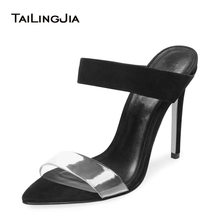 New Open Pointed Toe High Heel Mules Womens Heeled Strappy Sandals Large Size Clear Heels Ladies Stiletto Summer Shoes 2019