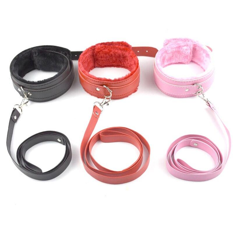 лучшая цена Chastity Lock 4 color PU Leather bdsm collar Plush Neck Sex Collar Fetish Bondage Adult Games Slave Restraint Virgin lock