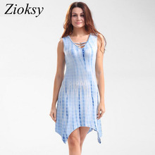 Zioksy 2017 New Summer Sleeveless Dress Women Irregular Slim Ladies Casual V-neck Asymmetrical Bodycon Dresses Vestidos