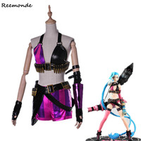 Game LoL Crit Loli Jinx Cosplay Costume Jinx Original Skin Magical Uniforms Synthetic Wigs Hair For Women Girls Party Clothing